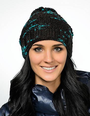 Интересная красивая теплая вязаная женская шапка с бумбоном., фото 2