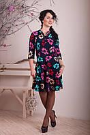 Платье с отрезной талией  - Яркие цветы