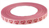 Лента репсовая Розовая Сердце (Сердечко) 1 см 5 метров