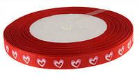 Лента репсовая Красная Сердце (Сердечко) 1 см 5 метров