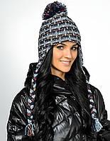 Женская стильная вязанная шапка с бумбоном, Польша.