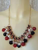 Ожерелье женское колье модное с подвесками металл ювелирная бижутерия 5449