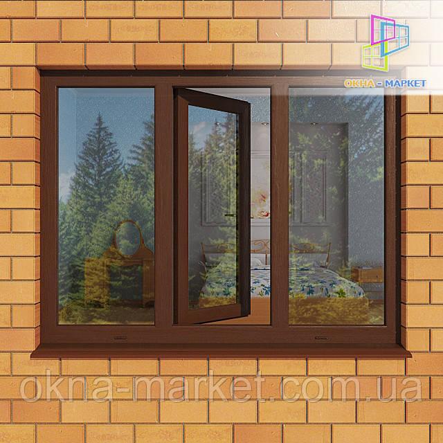 Трехстворчатые ламинированные окна