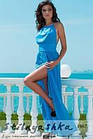 Женское платье в пол с голой спиной Фантазия голубое, фото 1