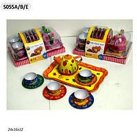 Посуда металл S055A/B/E 3 вида,чайник,чашки,тарелки, слюда.24*16*3см