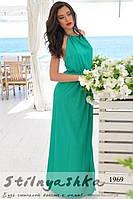 Женское платье в пол с голой спиной Фантазия зеленое, фото 1