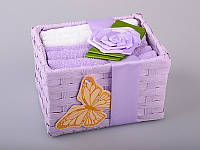 """Комплект полотенец для кухни в корзине 6 шт., 30х30 см. """"Корзинка-роза"""" фиолетовый"""