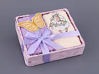 """Комплект полотенец для кухни в корзине 4 шт., 30х30 см. """"Бабочки"""" фиолетовый"""