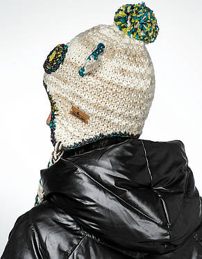 Женская стильная вязанная шапка с косами и ушками, Польша., фото 2