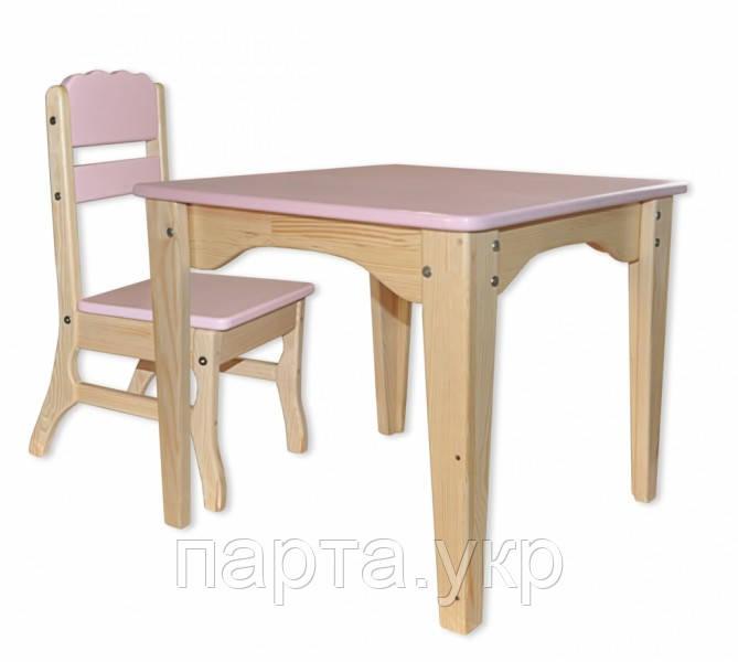 Столик и стульчик в детскую комбинированный, дерево (разные цвета)