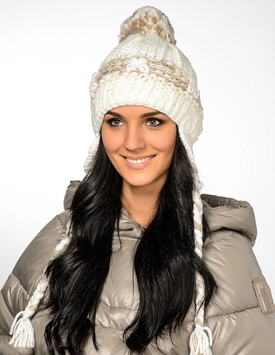 Женская стильная вязанная шапка с косами и помпоном, Польша.