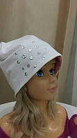 Осенние двухсторонние шапки для девочки с серебристым декором (розовый+молочный).