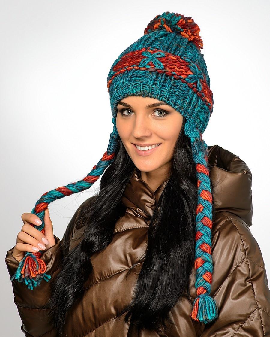 Женская модная вязанная шапка с косами, Польша.