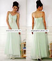 Вечернее платье. Шифоновое длинное платье на бретелях. Светло-голубое.