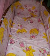 """Белье постельное детское (простынь, наволочка, пододеяльник) """" Мишки на звездах"""" розовый"""