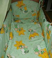 """Белье постельное детское (простынь, наволочка, пододеяльник) """" Мишки на звездах"""" зеленый"""
