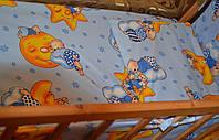 """Белье постельное детское (простынь, наволочка, пододеяльник) """" Мишки на звездах"""" синий"""