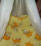 """Белье постельное детское (простынь, наволочка, пододеяльник) """" Мишки на звездах"""" желтый"""