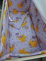 """Белье постельное детское (простынь, наволочка, пододеяльник) """" Мишки на звездах"""" сиреневый"""