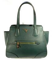 Брендовая кожаная сумка, саквояж женский Prada зеленый