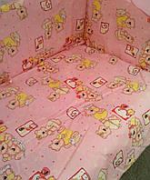 """Белье постельное детское (простынь, наволочка, пододеяльник) """" Мишки часики"""" розовый"""
