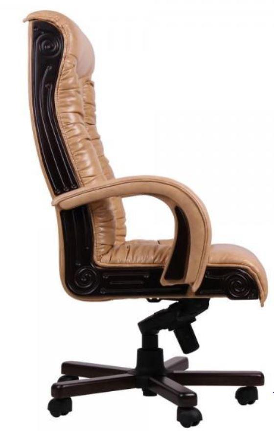 Кресло Кардинал MB Тёмный орех Мадрас Голд Беж вид с боку.