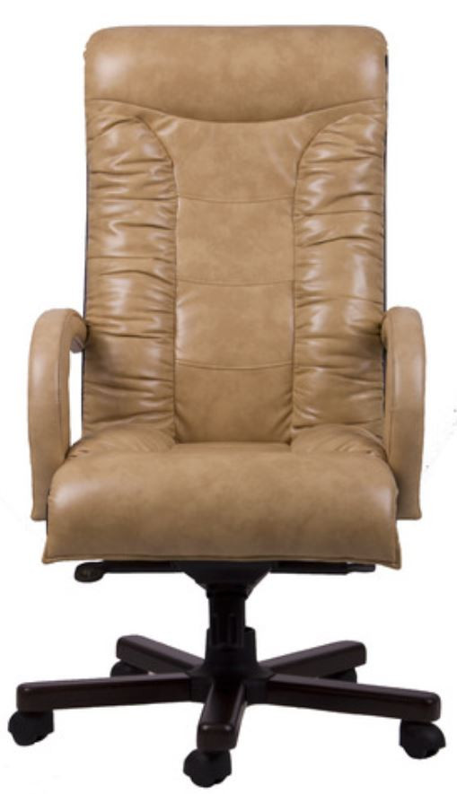 Кресло Кардинал MB Тёмный орех Мадрас Голд Беж вид спереди.