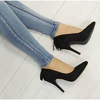 Женские туфли лодочки черные замшевые с бахромой