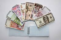 Блокнот Валюты мира 150*75мм 80 листов мягкая обложка на пружине