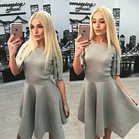 Неопреновое серое платье с молнией на рукавах d-31031209