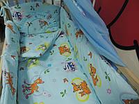 """Белье постельное детское (простынь, наволочка, пододеяльник) """" Олененок Бемби """" голубой"""