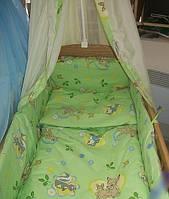 """Белье постельное детское (простынь, наволочка, пододеяльник) """" Олененок Бемби """" зелёный"""