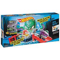 Трек Хот Вилс Ловушка осьминога с 3 машинками Hot Wheels Color Shifters OctoBattle, фото 1