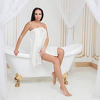 Юбка для сауны махровая с кружевом Марипоза от  Guddini M(46-50) молочная