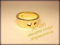 Кольцо с сердечками (желтое золото)