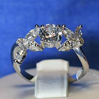 Серебряное кольцо с цирконами для женщин Веночек 4801-р