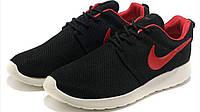 Мужские кроссовки Nike roshe run черные с красным