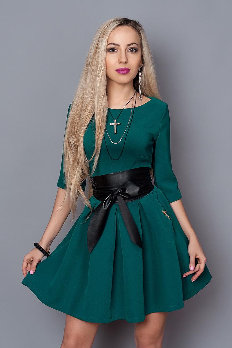 Платье  мод 373-6 размер 46 бутылочное