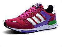 Кроссовки женские, розовые, бело-фиолетовые вставки, фото 1