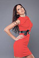 Платье кораллового цвета с декором пояском MM30065