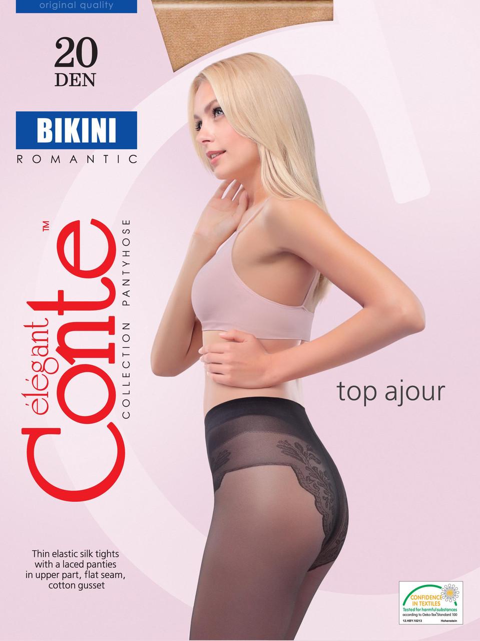 Колготки женские Conte Bikini 20 (Конте Бикини 20), 8С-34СП, размер 2-4, ажурные трусики