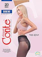 Колготки женские Conte Bikini 20 (Конте Бикини 20), 8С-34СП, размер 2-4, ажурные трусики, фото 1