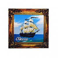 """№2 """"Корабль с белыми парусами"""" магнит - картина Одесса в декоративной рамке"""