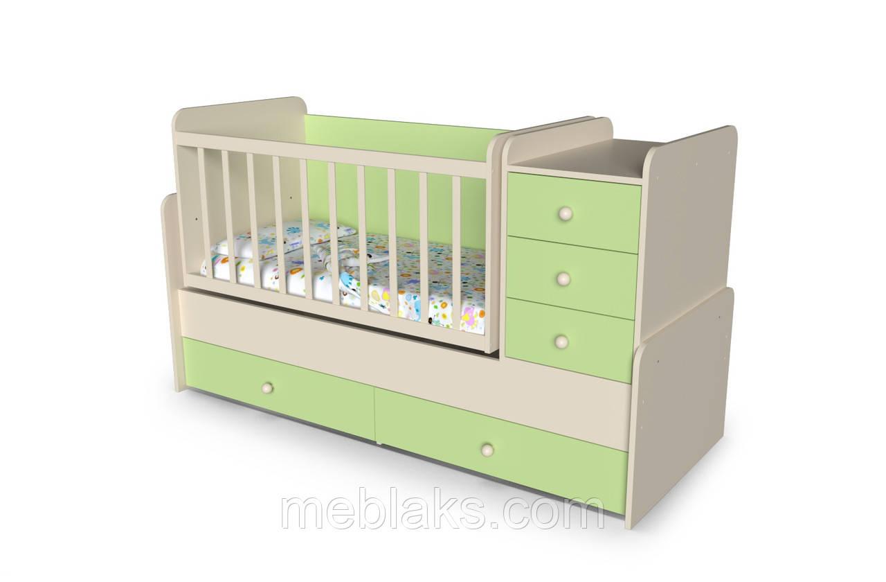 """Детская кроватка+трансформер с пеленальным столиком   """"Шоколадка"""" от 0 до 15 лет"""