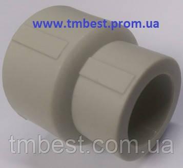 Муфта редукционная полипропиленовая(ппр) 40х25 для перехода с большого диаметра трубы на меньший.