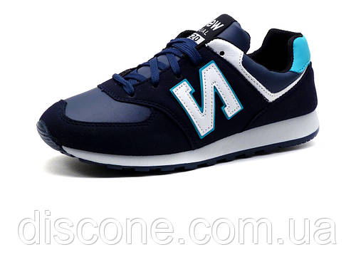 Кроссовки унисекс, синие, бело-бирюзовые вставки