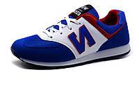 Кроссовки мужские, синие, бело-красные элементы, фото 1