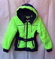 Куртка ветровка подростковая для девочки 6-12 лет,салатовая