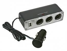 Разветвитель прикуривателя на 3 гнезда с USB