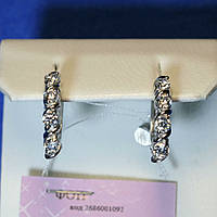 Серьги с цирконами в серебре Слава 5603-р, фото 1
